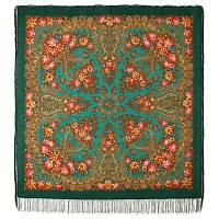 Ладога 1727-12, павлопосадский платок шерстяной  с шелковой бахромой
