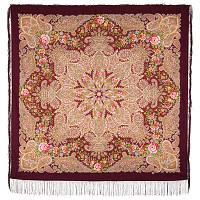 Ласковое солнце 1664-7, павлопосадский платок шерстяной (двуниточная шерсть) с шелковой бахромой