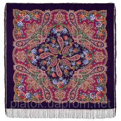 В лучах солнца 1682-8, павлопосадский платок шерстяной с шелковой бахромой