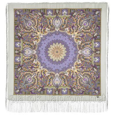 Дикий мёд 1712-1, павлопосадский платок шерстяной (двуниточная шерсть) с шелковой бахромой