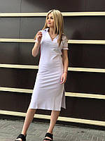 Белое платье миди, летнее, лакоста, спортивное, с разрезом / платье поло, длинное, по фигуре, TOMMY HILFIGER