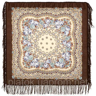 Нежный вечер 1195-16, павлопосадский платок шерстяной с шерстяной бахромой