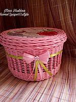 Шкатулка плетеная для хранения бижутерии, аксессуаров для волос и т.д., фото 1