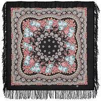 Нежный вечер 1195-18, павлопосадский платок шерстяной с шерстяной бахромой