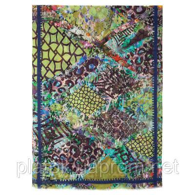 Палантин шерстяной 10247-15, павлопосадский шарф-палантин шерстяной (разреженная шерсть) с осыпкой