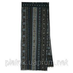 10369-14 кашне мужское, павлопосадский шарф (кашне) шерстяной (разреженная шерсть) с осыпкой