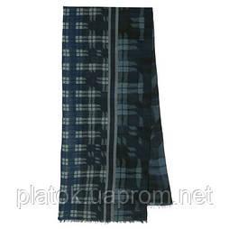 10371-14 кашне мужское, павлопосадский шарф (кашне) шерстяной (разреженная шерсть) с осыпкой