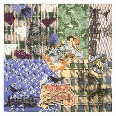 Платок хлопковый 10314-14, павлопосадский платок на голову хлопковый (саржа) с подрубкой