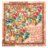 10317 платок хлопковый 10317-3, павлопосадский платок на голову хлопковый (саржа) с подрубкой   Стандартный сорт