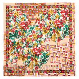 10317-3, павлопосадский платок на голову хлопковый (саржа) с подрубкой