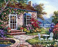 Картины по номерам 40 х 50 см. Домик в цветах.