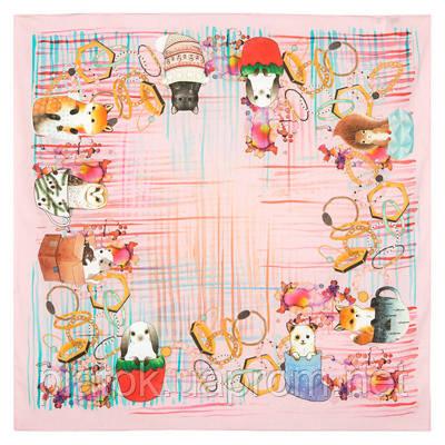 10351 платок хлопковый 10351-3, павлопосадский платок на голову хлопковый (саржа) с подрубкой