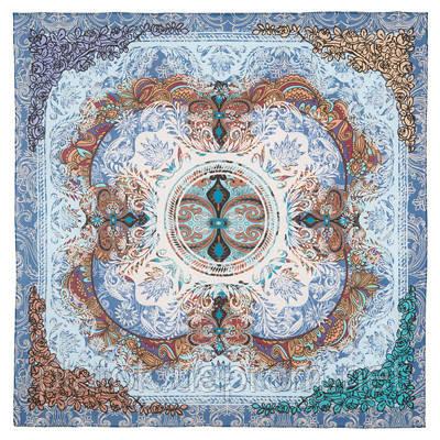 10328-13, павлопосадский платок (на голову, шейный) хлопковый (батистовый) с подрубкой