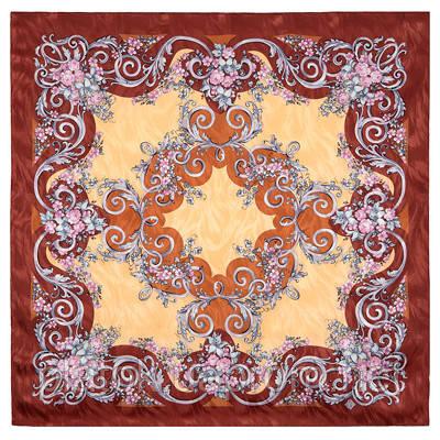 Кокетка 832-16, павлопосадский платок (жаккард) шелковый с подрубкой