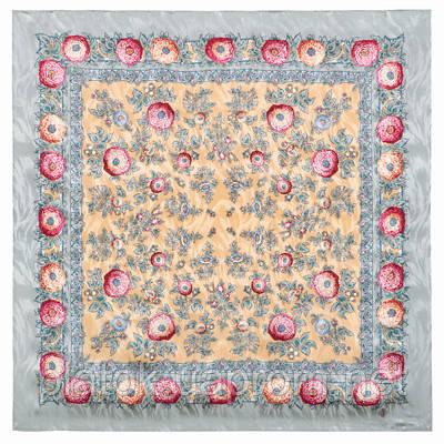 Безмятежность 1454-1, павлопосадский платок (жаккард) шелковый с подрубкой