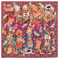 10097 платок шелковый (крепдешин) 10097-7, павлопосадский платок (крепдешин) шелковый с подрубкой