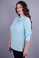 Кортни. Офисная блуза больших размеров. Голубой.