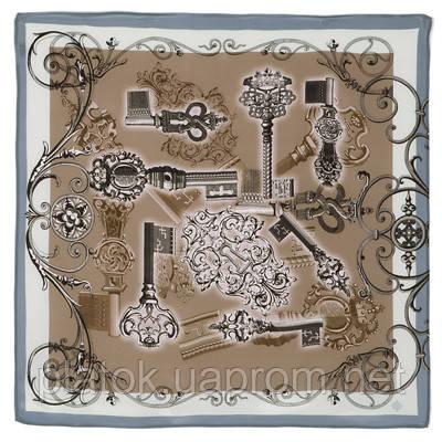 10143-1, павлопосадский шейный платок (крепдешин) шелковый с подрубкой