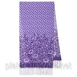 Польова берізка 1660-15, павлопосадский шовковий шарф крепдешиновый з шовковою бахромою