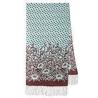 Полевой вьюнок 1660-16, павлопосадский шарф шелковый крепдешиновый с шелковой бахромой