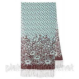 Польова берізка 1660-16, павлопосадский шовковий шарф крепдешиновый з шовковою бахромою
