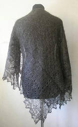 Платок ажурный Ш-00098, темно-серый, оренбургский платок