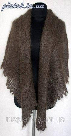 Платок Ш-00006, серый, оренбургский платок (шаль)