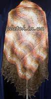 """Шаль """"""""Африканский зной"""""""" Ш-00011, коричневый-рыжий-белый, оренбургский платок (шаль), фото 1"""