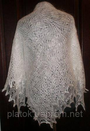 Платок Гребешок s-00062-120, белый, оренбургский платок