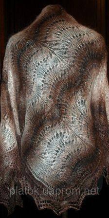 """Шаль """"""""Волна"""""""" Ш-00072, коричневый-белый, оренбургский платок (шаль)"""
