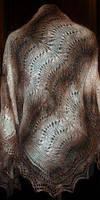 """Шаль """"""""Волна"""""""" Ш-00072, коричневый-белый, оренбургский платок (шаль), фото 1"""