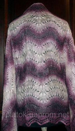 """Шаль """"""""Волна"""""""" Ш-00073, фиолетовый-белый, оренбургский платок (шаль)"""