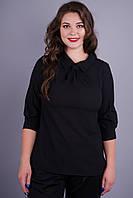 Кортни. Женская блуза на каждый день plus size. Черный.