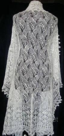 """Шаль """"""""Ландыши"""""""" Ш-00023, белый, вышивка, оренбургский платок (шаль) с вышивкой"""