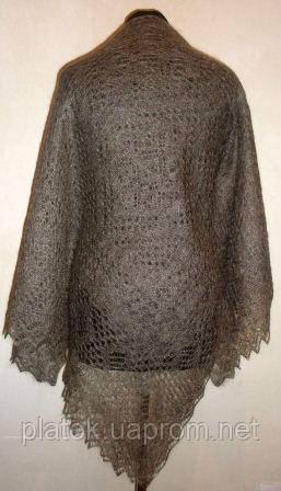 "Шаль """"Морозные узоры"""" Ш-00106-140, серый, оренбургский платок (шаль)"