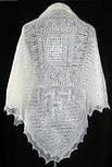 """Шаль """"""""Морозные узоры. Снежный вальс""""""""  Ш-00025, белый , оренбургский платок (шаль), фото 3"""