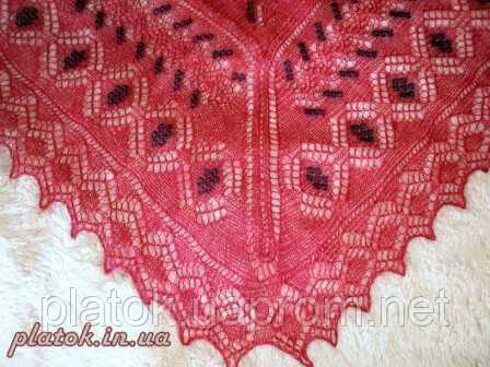 """Шаль вышитая """"""""Красная смородина"""""""" Ш-00007, красный,черная вышивка, оренбургский платок (шаль) с вышивкой"""