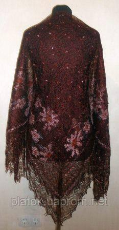 """Шаль вышитая """"""""Цветочная заря"""""""" Ш-00105, бордовый,розовая вышивка, оренбургский платок (шаль) с вышивкой"""