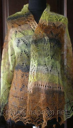 Палантин П-00188, коричневый-болотный-белый, оренбургский шарф (палантин)