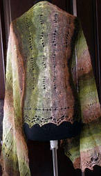 Палантин П-00187, коричневый-болотный-белый, оренбургский шарф (палантин)