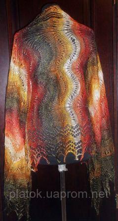 """Палантин """"""""Африканский зной""""""""  П-00160, рыжий-коричневый-красный-белый , оренбургский шарф (палантин)"""