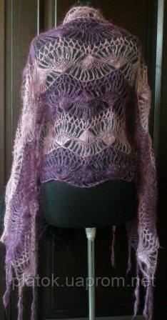 """Палантин """"""""Вилка"""""""" П-00097, фиолетовый-розовый, оренбургский шарф (палантин)"""