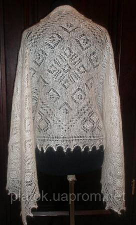 """Палантин """"""""Морозные узоры"""""""" П-00157, белый, оренбургский шарф (палантин)"""