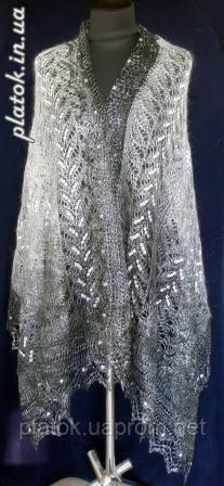"""Палантин """"""""Французики""""""""  П-00055, серый-белый , оренбургский шарф (палантин)"""