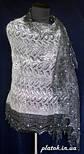 """Палантин """"""""Французики""""""""  П-00055, серый-белый , оренбургский шарф (палантин), фото 3"""