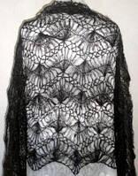 """Палантин с кистями """"""""Вилка"""""""" П-00039, черный, оренбургский шарф (палантин), фото 1"""