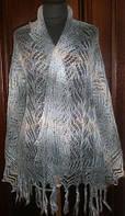 Палантин с кистями П-00181, сизый-голубой-белый, оренбургский шарф (палантин)