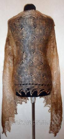Палантин П-00183, коричневый-рыжий-белый, оренбургский шарф (палантин)