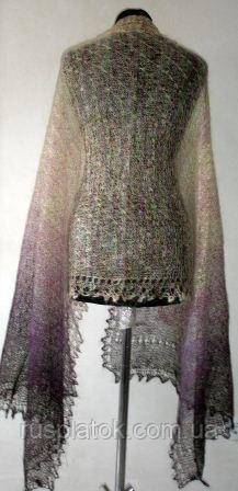 "Палантин """"Звездочка-меланж"""" П-00190, фиолетовый-белый меланж, оренбургский шарф (палантин)"