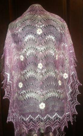 """Палантин вышитый """"""""Невеста"""""""" П-00211, розовый, оренбургский шарф (палантин)"""
